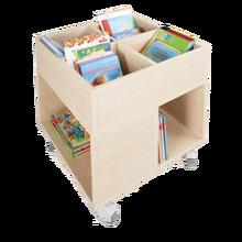 Bücherkiste CuBe, 4 Fächern auf der Oberseite, 4 Fächer seitlich, fahrbar B/H/T: 60x72x60 cm