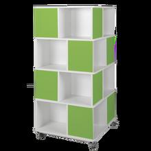 Bücherturm mit 4 Ebenen und 16 Fächern, fahrbar B/H/T: 75x159x75 cm