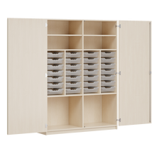 Ergo Tray Schrank, 28 Schübe B/H/T: 140,6x190x50 cm, mit 28 flachen Ergo-Tray Boxen