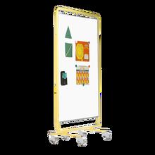 Fahrbare doppelseitiges Whiteboard aus weißer Premium Stahlemaille Maße gesamt: B/H/T: 131x190x50 cm, Maße Tafelfläche: 120x150x