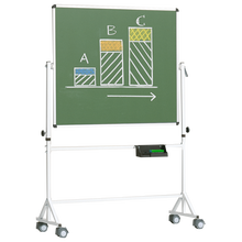 Fahrbare Tafel aus Premium Stahlemaille, Vierkantgestell, grün Tafelfläche: B/H: 190x100 cm