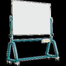 Fahrbares Whiteboard aus Premium Stahlemaille mit Rundrohrgestell, Serie 6 E, weiß B/H: 150x100 cm