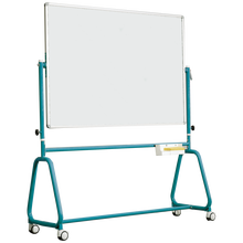 Fahrbares Whiteboard aus Premium Stahlemaille mit Rundrohrgestell, Serie 6 E, weiß B/H: 190x100 cm