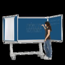Federzugtafel aus Premium Stahlemaille, fahrbar, Serie FZ FR E, blau MF 200x120 cm FF 100x120 cm
