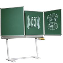 Freistehende Klapptafel aus Premium Stahlemaille, Serie KLE, grün MF: 150x100 cm, FF: 75x100 cm, fahrbar