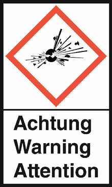 """GHS-Warnetiketten """"Explodierende Bombe – Achtung"""""""