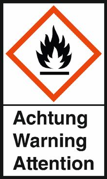 """GHS-Warnetiketten """"Flamme – Achtung"""""""
