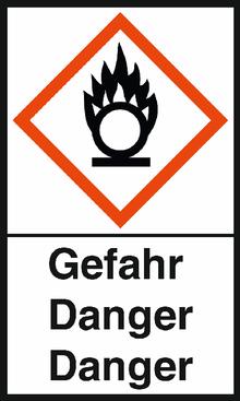 """GHS-Warnetiketten """"Flamme über Kreis – Gefahr"""""""