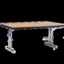 Klapptisch mit T-Fuß Gestell und melaminharzbeschichteter Tischplatte Breite 140 cm, Tiefe 70 cm, Zargenart Stahl, Dekor Wählbar