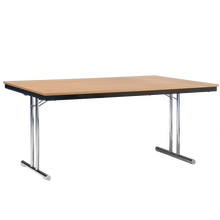 Klapptisch mit T-Fuß Gestell und melaminharzbeschichteter Tischplatte Breite 160 cm, Tiefe 60 cm, Zargenart Holz, Dekor Wählbar