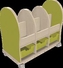 Leseratte Midi mit 6 offenen Fächern und 3 Ergo Tray Boxen C2 Mit 3 x Ergo Tray Boxen C2 in Transparent