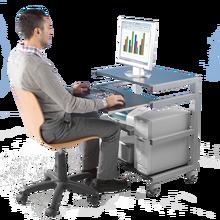 Mobiler PC-Arbeitsplatz mit 2 Schubladen B/H/T: 76x85x45 cm, Tastaturhöhe: 72 cm