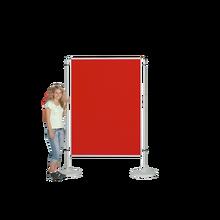 Moderationswand, Coronaschutzwand mit doppelseitigier Klettenstoffoberfläche Serie NSTT F B/H: 120x100 cm, Stofffarbe Blau.