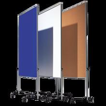 Moderationswand Serie MTS Tafelmaß: 120x150 cm, Gesamthöhe: 195 cm, in Weinrot, fahrbar