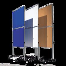Moderationswand Serie MTSK Tafelformat: 120x150 cm, Gesamthöhe: 195 cm,  fahrbar, in Blau