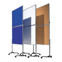 Moderationswand Serie MTSK Tafelformat: 120x150 cm, Gesamthöhe: 195 cm, fahrbar, in Grün