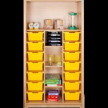 Offenes Regal mit 14 hohen ErgoTray Boxen & 5 Fächern B/H/T: 104,5x190x40cm, ErgoTray Farbe gelb