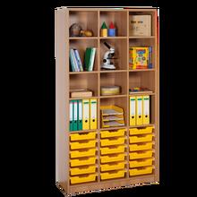 Offenes Regal mit 18 flachen ErgoTray Boxen B/H/T: 104,5x190x40 cm, ErgoTray Farbe gelb