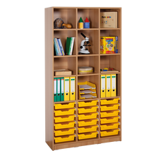 Offenes Regal mit 18 flachen ErgoTray Boxen B/H/T: 104,5x190x40 cm, ErgoTray Farbe Multicolor