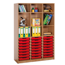Offenes Regal mit 24 flachen ErgoTray Boxen B/H/T: 104,5x190x40 cm, ErgoTray Farbe rot