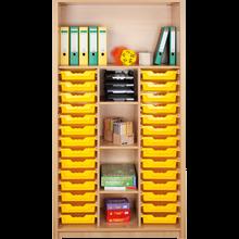 Offenes Regal mit 28 flachen ErgoTray Boxen & 5 Fächer B/H/T: 104,5x190x40 cm, ErgoTray Farbe gelb