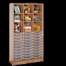Offenes Regal mit 30 flachen ErgoTray Boxen B/H/T: 104,5x190x40 cm, ErgoTray Farbe transparent