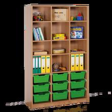 Offenes Regal mit 9 hohen ErgoTray Boxen B/H/T: 104,5x190x40 cm, ErgoTray Farbe grün