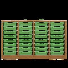Offenes Sideboard mit 32 flachen ErgoTray Boxen, 3 Mittelwänden, fahrbar B/H/T: 138,7x89,8x40 cm, ErgoTray Farbe Limonengrün
