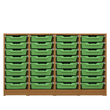 Offenes Sideboard mit 32 flachen ErgoTray Boxen, 3 Mittelwänden, fahrbar B/H/T: 138,7x89,8x40 cm, ErgoTray Farbe Transparent