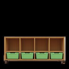 Offenes Sideboard mit 4 hohen ErgoTray Boxen & 4 Fächern B/H/T: 138,7x64,9x40 cm, ErgoTray Farbe Grün