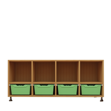 Offenes Sideboard mit 4 hohen ErgoTray Boxen & 4 Fächern B/H/T: 138,7x64,9x40 cm, ErgoTray Farbe Limonengrün