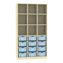 Raumteiler mit Ergotray Boxen Größe L und Stauraum für die Höhe von drei Ordnern B/H/T: 104,5x190x40 cm, Hellblau