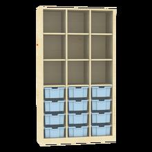 Raumteiler mit Ergotray Boxen Größe L und Stauraum für die Höhe von drei Ordnern B/H/T: 104,5x190x40 cm, Multicolor