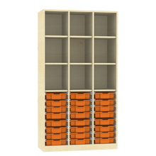 Raumteiler mit Ergotray Boxen Größe M und Stauraum für die Höhe von drei Ordnern B/H/T: 104,5x190x40 cm, Multicolor E