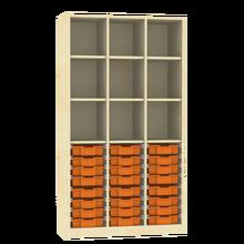 Raumteiler mit Ergotray Boxen Größe M und Stauraum für die Höhe von drei Ordnern B/H/T: 104,5x190x40 cm, Transparent