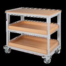 Vorbereitungswagen mit 3 Ablageböden (2 mit Aufkantung), fahrbar B/H/T: 100x90x60 cm