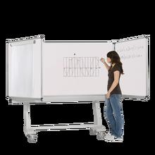 Whiteboard Federzugtafel aus Premium Stahlemaille, fahrbar, Serie FZ FR E, weiß MF 200x120 cm FF 100x120 cm
