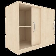 Zweitüriger Schiebetürschrank für die Höhe von 2 Ordnern, Serie 480-1 120 cm Breite, 82 cm Höhe, 40 cm Tiefe, Mittelwand