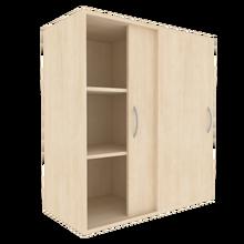 Zweitüriger Schiebetürschrank für die Höhe von 3 Ordnern, Serie 481-1 120 cm Breite, 108 cm Höhe, 50 cm Tiefe, Mittelwand