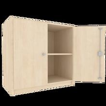 Zweitüriger Schrank, Höhe von 2 Ordnern, Mittelwand