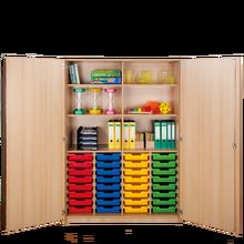 Zweitüriger Schrank mit 32 flachen ErgoTray Boxen
