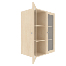 Zweitüriger Schrank mit verglasten Flügeltüren für die Höhe von 3 Ordnern, Serie 441-1 120 cm Breite, 108 cm Höhe, 60 cm Tiefe,