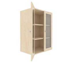 Zweitüriger Schrank mit verglasten Flügeltüren für die Höhe von 3 Ordnern, Serie 441 100 cm Breite, 108 cm Höhe, 60 cm Tiefe, 4/